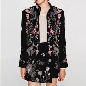 Jackets & Blazers - New! Black Velvet Floral Embroidered Jacket